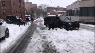 Queens Hatzolah Member Pulling FDNY Out Of Snow