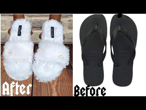 DIY indoor slippers from flip flop• Fluffy indoor slippers