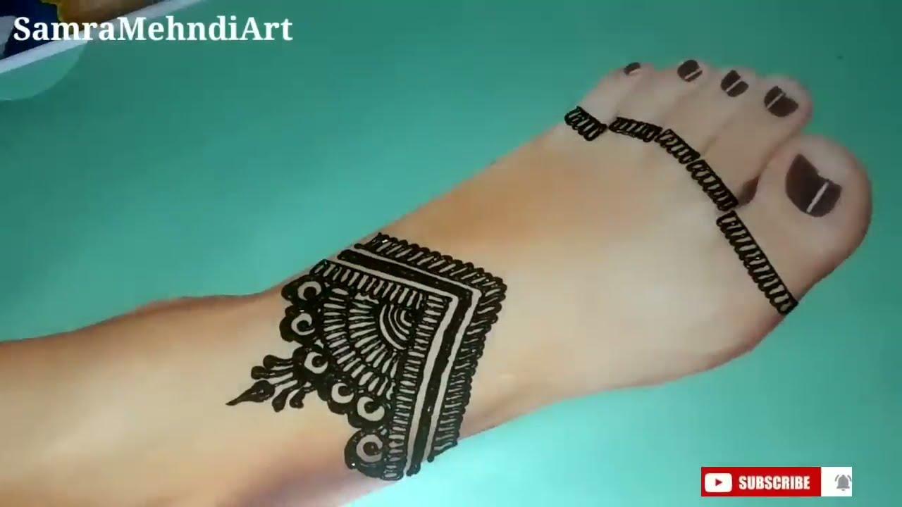 latest leg mehndi design by samra mehndi art