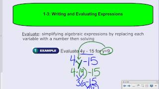 1-3: Writing & Evaluating Expressions
