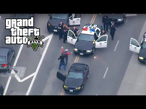 GTA 5 - REAL COPS MOD!! UNBELIEVABLE POLICE CHASE (200 UNITS) Biggest 5 Star Police Chase Episode #3
