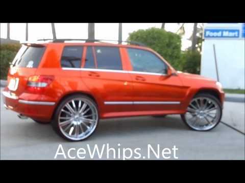 "AceWhips.NET- Female's Candy Tangerine Mercedes-Benz GLK-350 on 26"" ASANTIS"