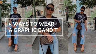 5 WAYS TO WEAR A GRAPHIC BAND T-SHIRT | JULIA MARIE B