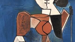 Femme Assise En Costume Rouge Sur Fond Bleu (Picasso)