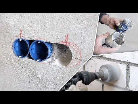 Установка подрозетников в бетонной/кирпичной/газобетонной стене. Обзор коронок.