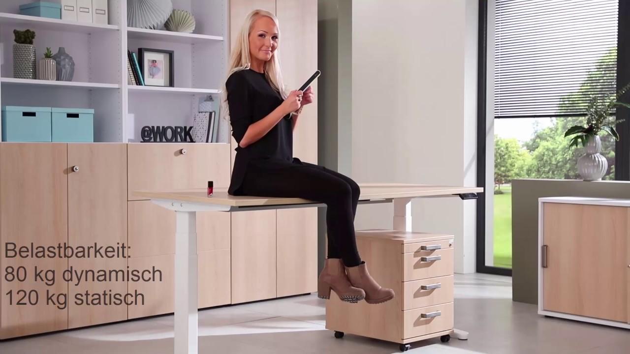 Video zum Höhenverstellbarer Steh-Sitz-Schreibtisch XBHM
