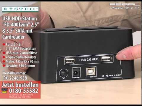 """Xystec USB-HDD-Station """"FD-400Twin"""" 2,5"""" & 3,5"""" SATA mit Card-Reader"""