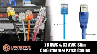 Monoprice Slimrun Cat6 Ethernet Patch Cables Compared 28/32 AWG