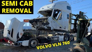 REMOVING CAB Off Wrecked Volvo VNL Semi 2018 from Copart