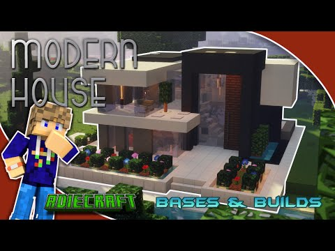 Easy Modern House With Full Interior Modern Style Build Tutorial Contemporary House Minecraft Map