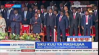 President Uhuru Kenyatta arrives at Uhuru park for Mashujaa day celebrations