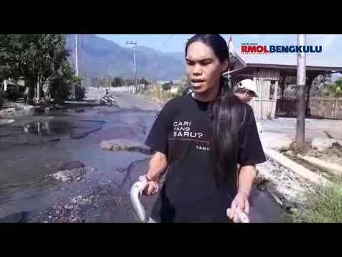 Warga Lepas Ikan Lele Di Jalan Provinsi