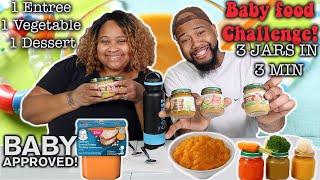 3 Jars In 3 Minutes Baby Food Challenge! (1 Entree 1 Vegetable 1 Dessert) Epic Empire