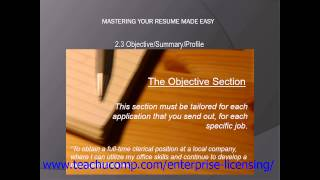 Resume Skills Training- Resume Writing Tutorial - Objective, Summary, and Profile Lesson
