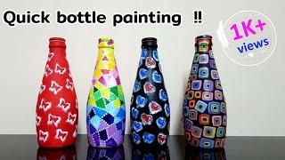 Quick And Easy Bottle Art / 4 Bottle Designs / Bottle Craft / Bottle Decoration Idea / Niviz Ep 78