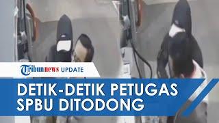 VIRAL Rekaman CCTV Petugas SPBU Ditodong Pria Bersenjata Tajam, Rampas Uang Jutaan Rupiah