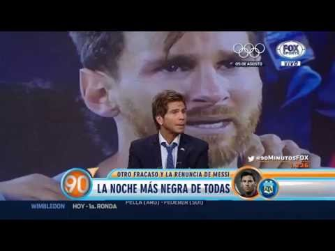 90 minutos - 27 Junio 2016 - Chile Campeón - Vignolo triste - Argentina pechea - Messi renuncia