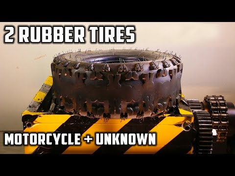 Shredding Two Rubber Tyres - Motorcycle Tyre and Other Tyre
