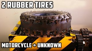 Shredding Two Rubber Tyres - Motorcycle Tyre and Other Tyre - Video Youtube