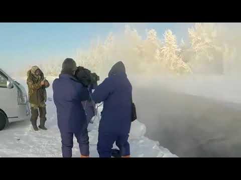 Японец искупался в ледяной реке при минус 60 и стал звездой Сети
