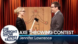 Download Youtube: Jennifer Lawrence Challenges Jimmy to an Axe Throwing Contest