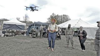 AMISH MAN FLIES A DRONE at the Baker Creek Spring Planting Festival