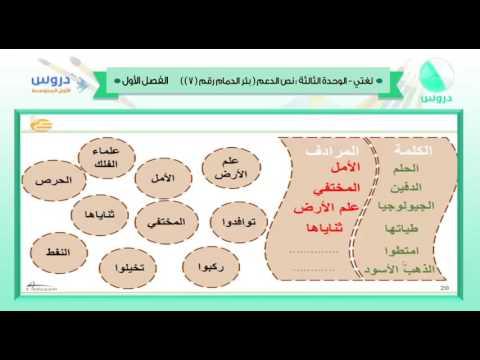 الأول المتوسط | الفصل الدراسي الأول 1438 | لغتي | الوحدة الثالثة - نص الدعم