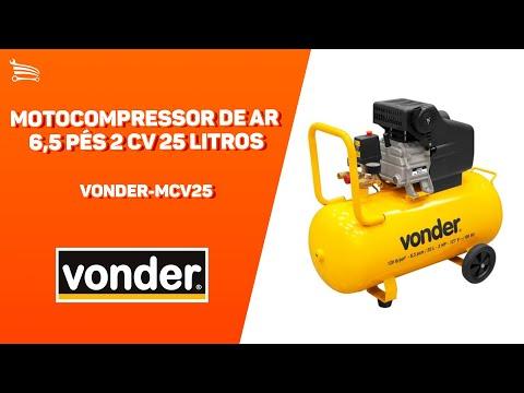 Motocompressor de Ar 6,5 Pés 2 CV 25 Litros  - Video