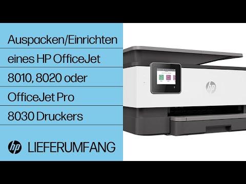 Auspacken und Einrichten eines Druckers der Druckerserie HP OfficeJet 8010, 8020 oder OfficeJet Pro 8030
