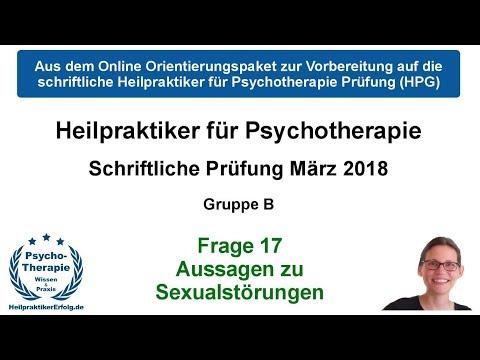 Heilpraktiker Psychotherapie Prüfung März 2018 Frage 17: Sexualstörungen nach ICD-10