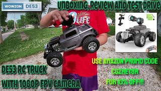 O WOWZON DE53 RC Truck With 1080P FPV Camera Unboxing, Review and Test Drive