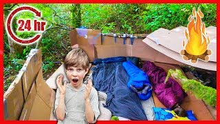 24 Hour Recycled BOX FORT CHALLENGE in the WOODS AT NIGHT! (Primitive Survival Fire)