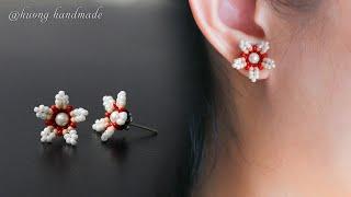 DIY Summer Stud Earrings. How To Make Beaded Jewelry