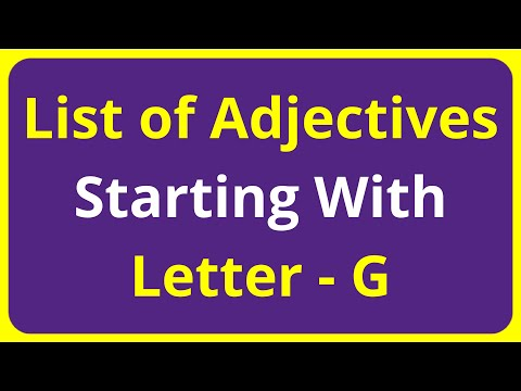 List of Adjectives Words Starting With Letter - G