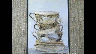 Gold/Black Watercolored Teacups using Gansai Watercolors