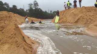 Terrigal river mouth opens up live ,,Awesome,, must watch kids surfing