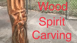 Chainsaw Carving (complete Process Of Carving A Wood Spirit)