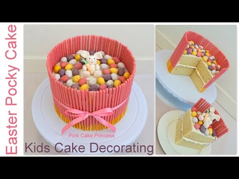 Video Easter Pocky Cake - Easy Kids Cake Decorating How to