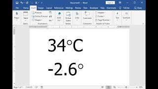 Shortcut Key to Insert Degree Symbol in MS Word 2003-2016