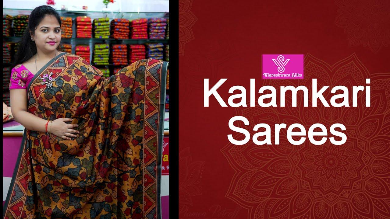 "<p style=""color: red"">Video : </p>Kalamkari sarees  || Vigneshwara Silks ||//vigneshwarasilks.com 2021-09-21"