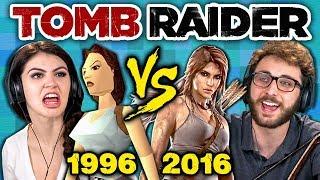 TOMB RAIDER ORIGINAL GAME vs TODAY (1996 vs 2016) (Teens React: Gaming) - dooclip.me