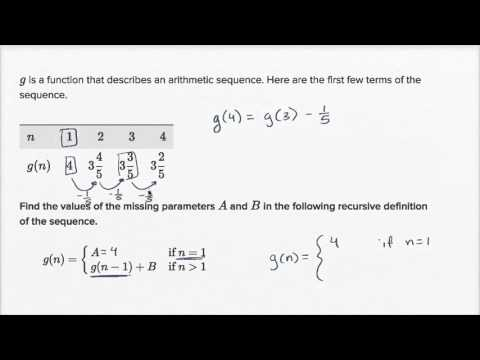 Recursive Formulas For Arithmetic Sequences  Algebra Video  Khan
