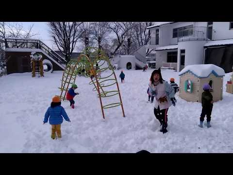 平成29年度 みなみ保育園 園庭に雪がいっぱい!