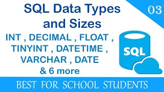 3. What are SQL Data Types and Sizes? VARCHAR, INT, FLOAT, SMALLINT and many more covered in detail.