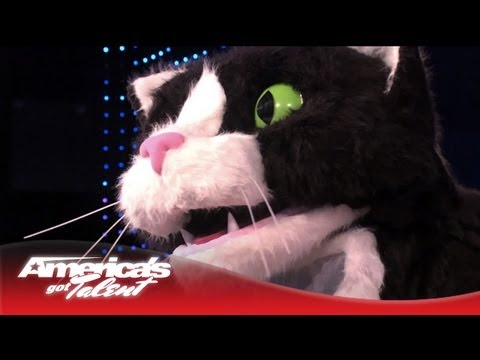 Giant Cat Poops and Throws Up a Hairball on the AGT Stage - America's Got Talent 2013 (видео)