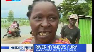 Several families in Ombeyi and Ahero areas in Kisumu county have been rendered homeless after river