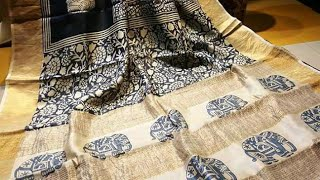 Pure tussar silk print saree