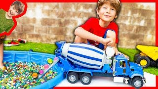 BRUDER CEMENT TRUCK FILLING POOL WITH ORBEEZ