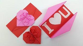 Origami: Heart Envelope & Box - DIY Envelope Paper Heart Card Gift For Boyfriend/Girlfriend