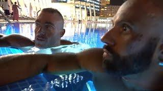 Im Pool mit Roman und Steve. Nach dem Wettkampf